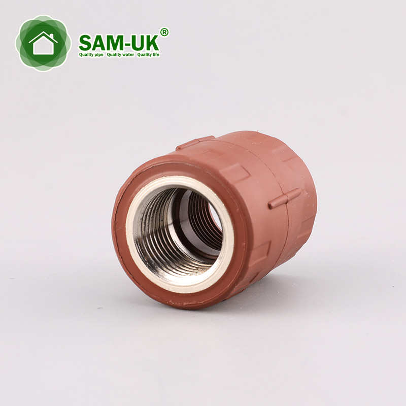 Red-brown PPH female coupling with brass(B) for hot water